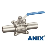 Picture of ANIX Stainless Steel Extended Weld End 3-Piece Full Port Ball Valve 1000 WOG