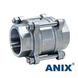 Picture of ANIX Stainless Steel 3-Piece Spring Loaded Check Valve Threaded NPT