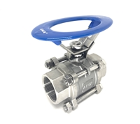 Picture of ANIX Stainless Steel 3-Piece Full Port Ball Valve 1000 WOG Threaded Oval Handle